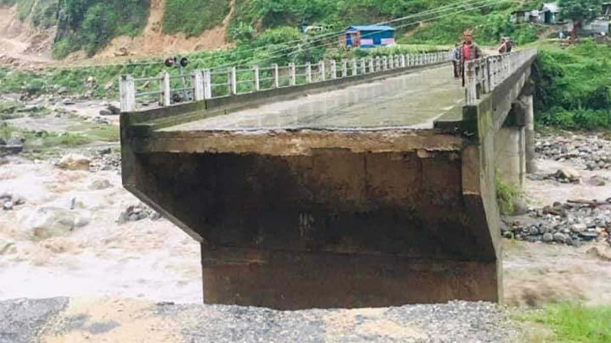 The bridge connecting Barpak and Ajirkot in Gorkha destroyed by the flood