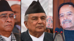 Sher Bahadur Deuba, Poudel, and Sitaula in a discussion today